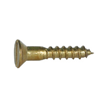 #10 x 1-1/2 Inch Brass Slotted Flat Head Wood Screw