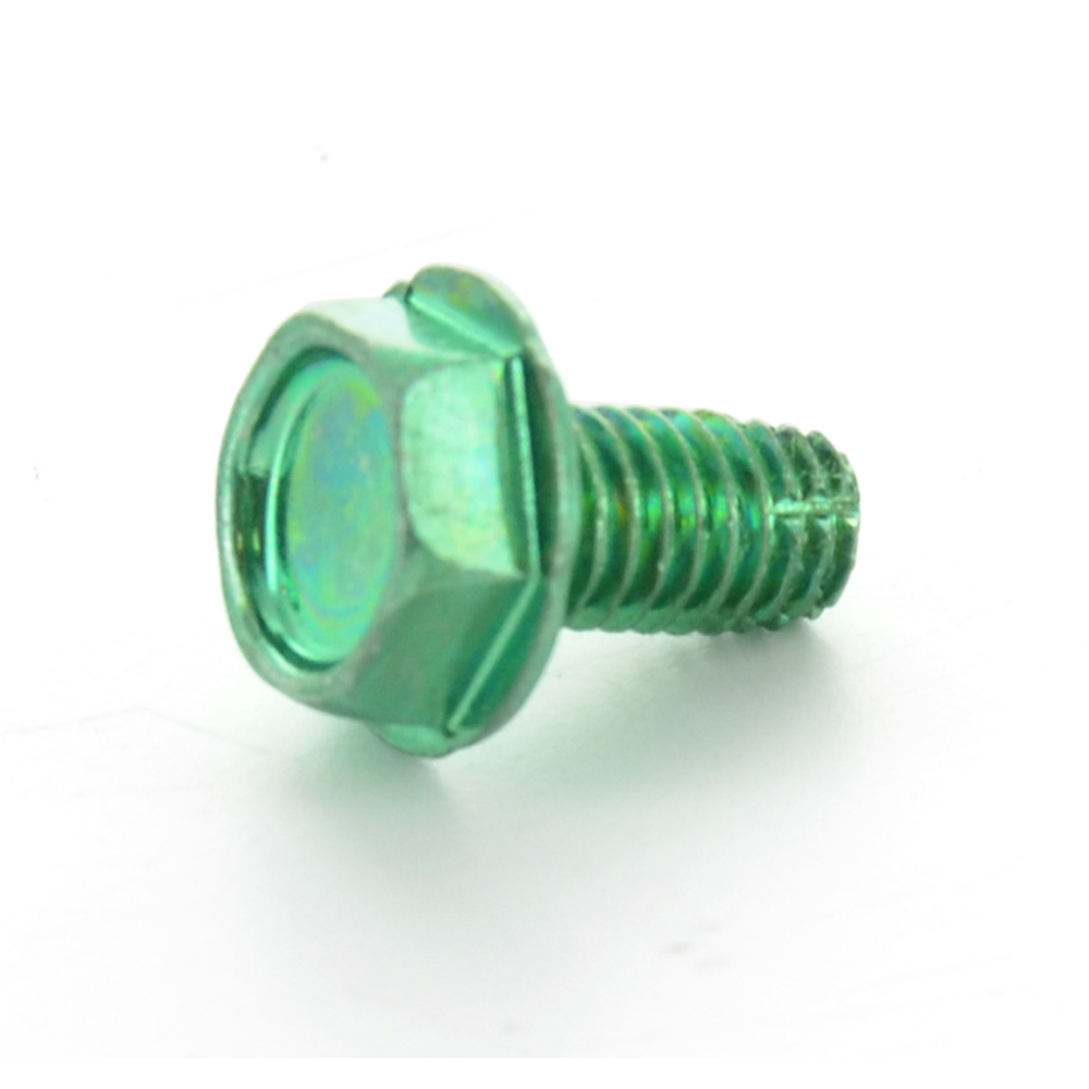 #10-32 x 3/8 Inch Fine Green Plated Steel Type F Point Indented Hex Washer Head Thread Cutting Screw