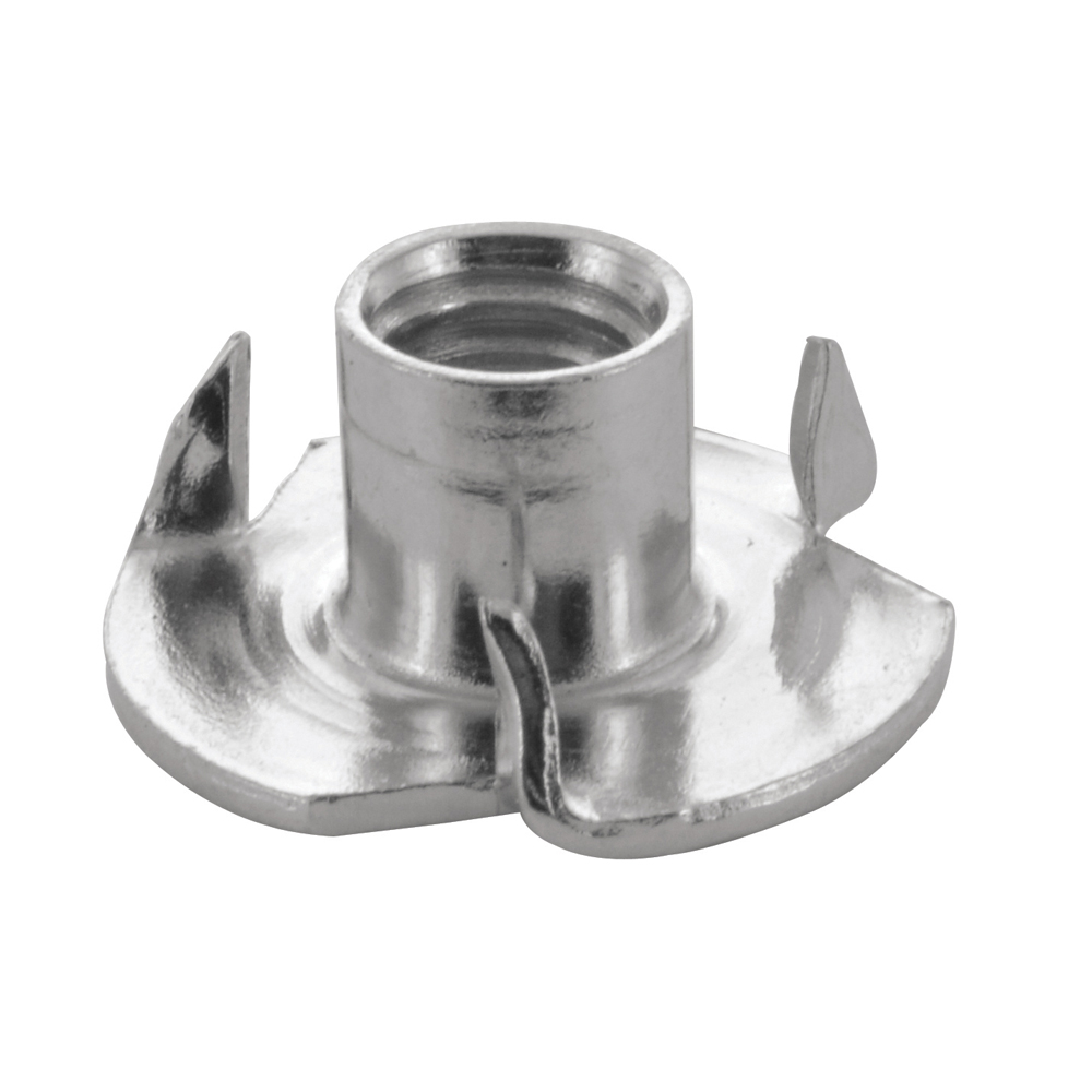 #10-24 Coarse 3 Prongs Zinc Plated Steel Straight Barrel T-Nut