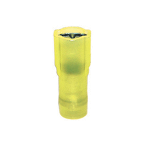 12-10 Gauge Female Quick Push On 1/4 Inch Tab Ultra-Tuff Fully Insulated Nylon Yellow