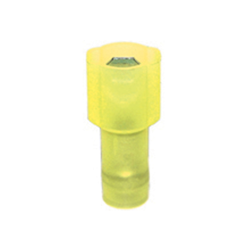 12-10 Gauge Male Quick Push On 1/4 Inch Tab Ultra-Tuff Fully Insulated Nylon Yellow
