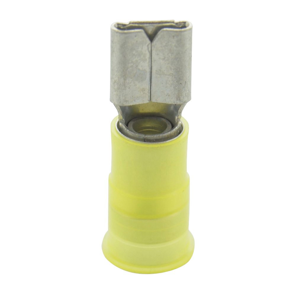12-10 Gauge Female Quick Push On 1/4 Inch Tab Ultra-Tuff Nylon Insulated Yellow