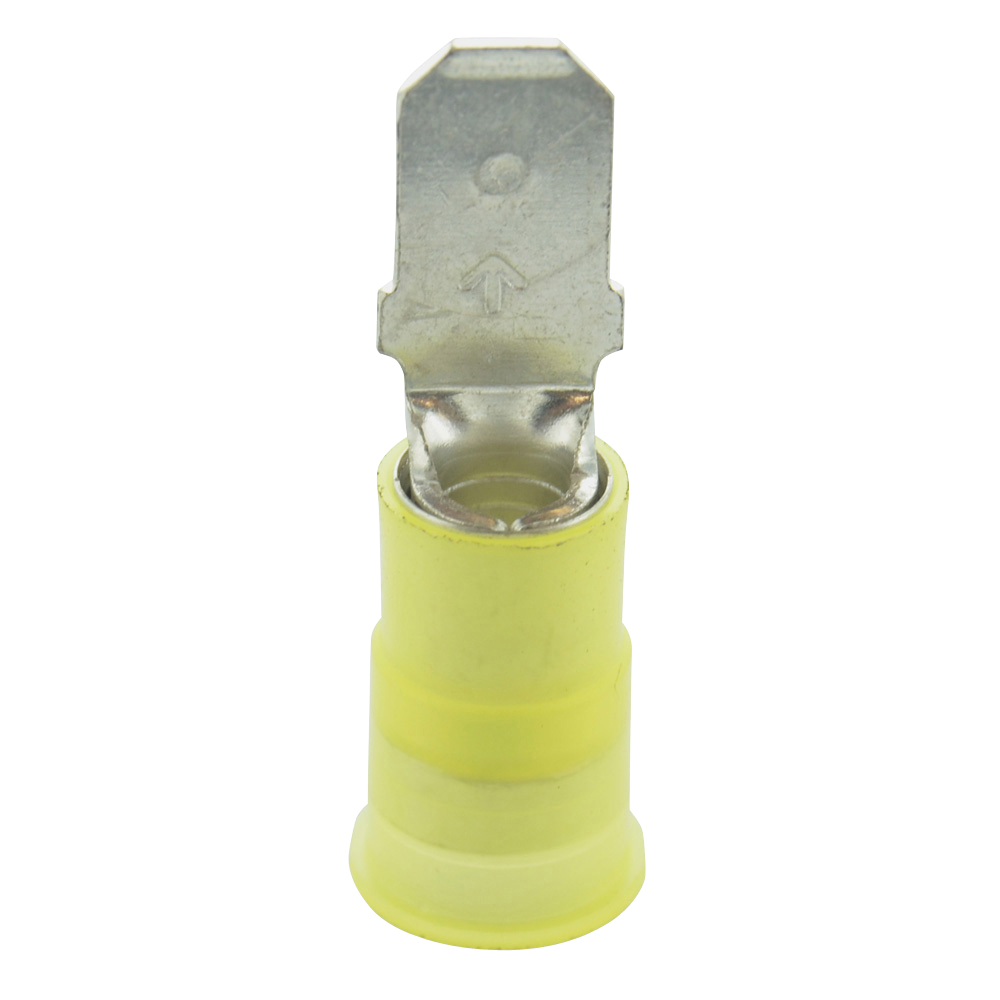 12-10 Gauge Male Quick Push On 1/4 Inch Ultra-Tuff Nylon Insulated Yellow