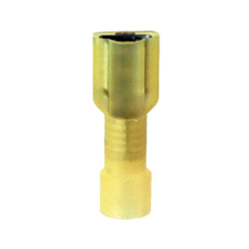 12-10 Gauge Female Push On Connector 1/4 Inch Tab Fully Insulated PVC Yellow