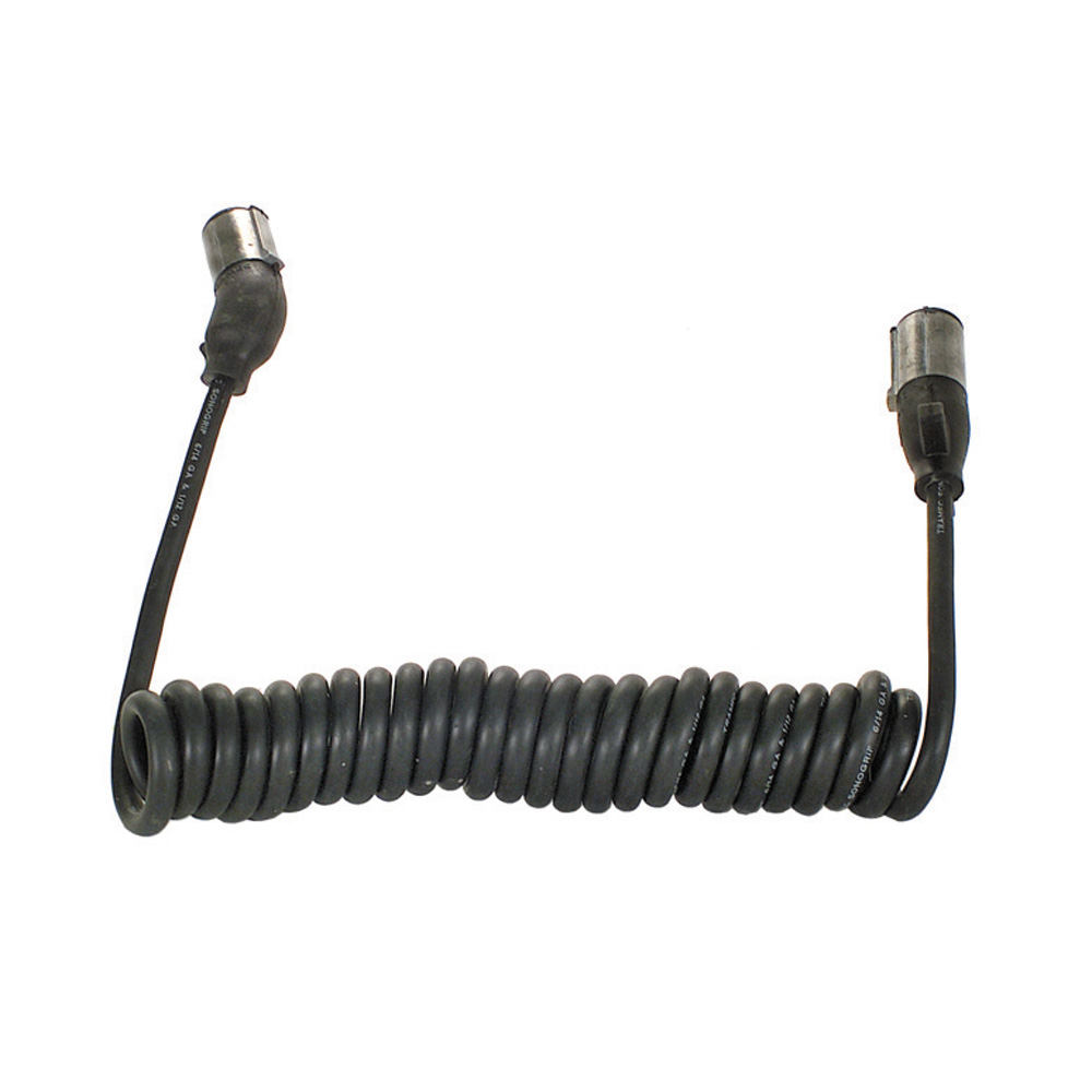 12 Inch Standard Plug To Angle Tractor Trailer Cable Black Urethane