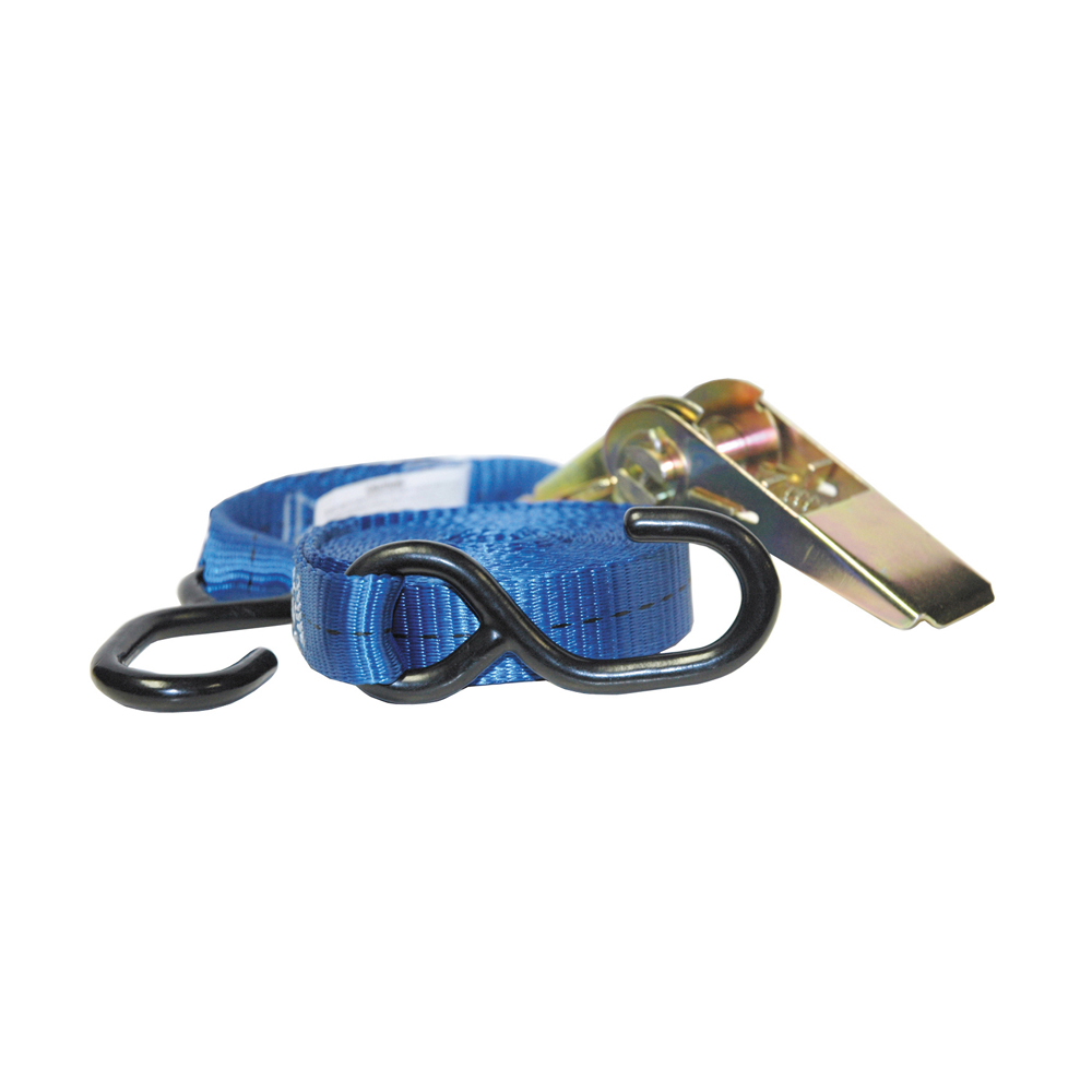 """1 Inch x 12 Foot Ratchet Strap With Vinyl Coated """"S"""" Hook"""