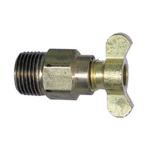 1/4 Inch Drain Cock Internal Seat Brass and Forged Tee Handle Steel