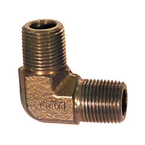 1 Inch 3000 psi Zinc Plated Yellow Dichromate Carbon Steel (2) Male Pipe 90 Degree Elbow Adapter