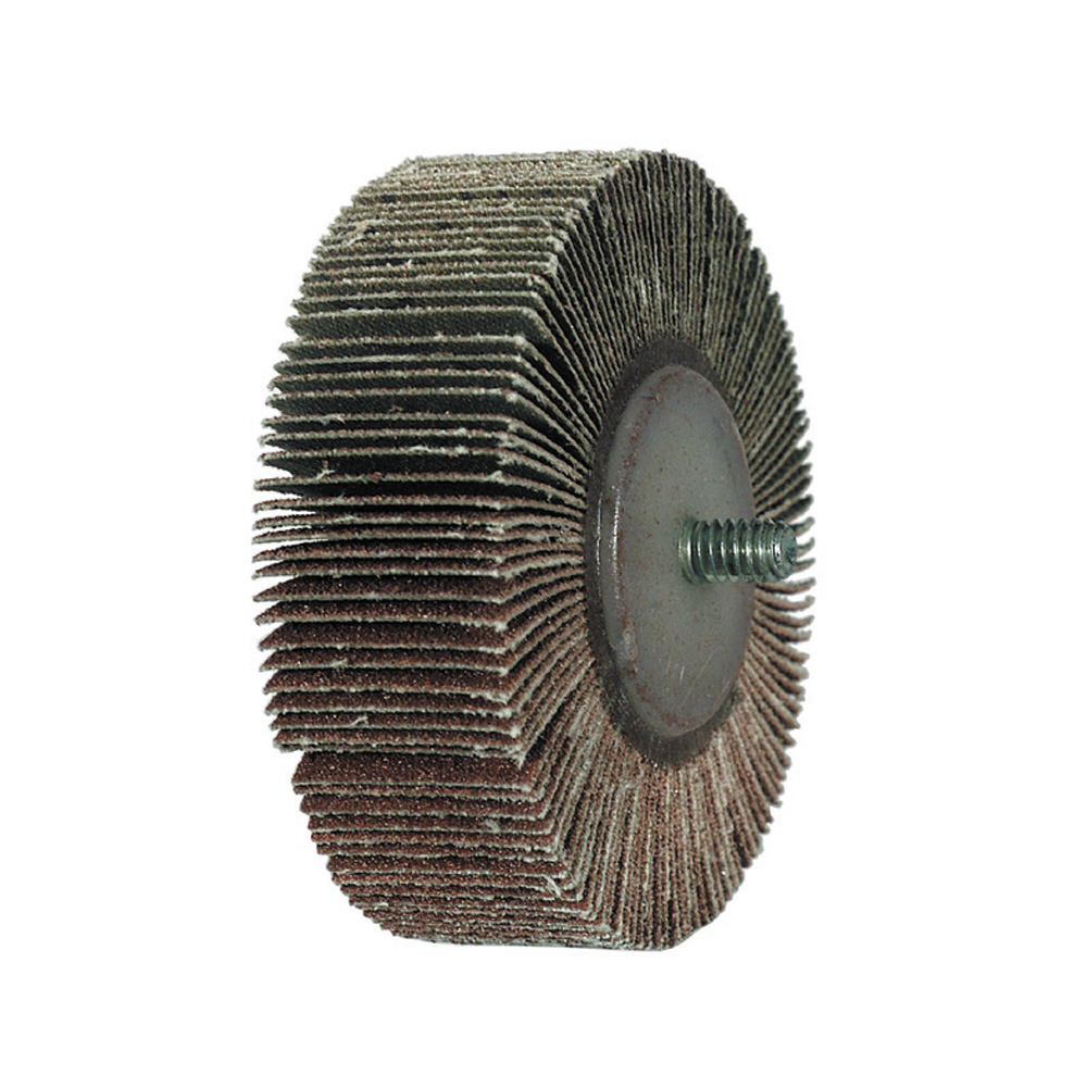 1 Inch x 1 Inch 80 Grit Aluminum Oxide Threaded Flap Wheel - Pack of 10