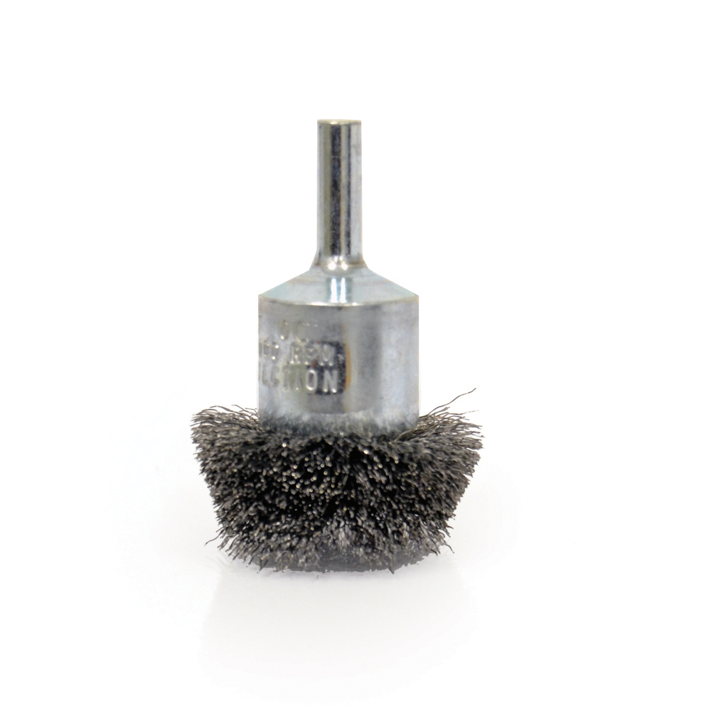 1 Inch x 0.014 Inch Carbon Steel Crimped Coated Cup Stem Mounted End Brush