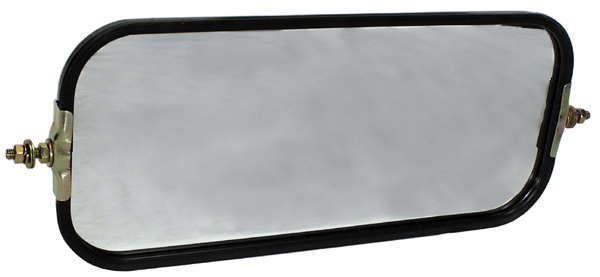 16 Inch x 7 Inch Rectangular Rear View Ribbed Flat Back Mirror Head