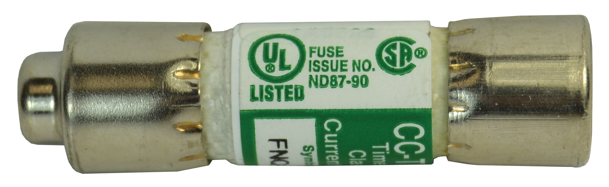 1 Amp FNQ-R Type 13/32 Inch x 1-1/2 Inch 600 VAC Time Delay Rejection Type Glass Industrial Fuse