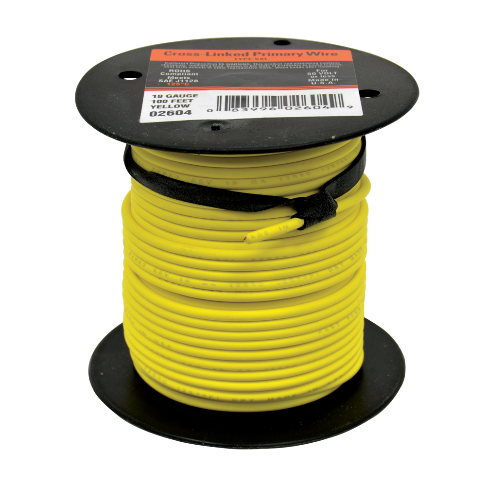 10 AWG Cross Link Primary Wire 100 Foot Roll Yellow
