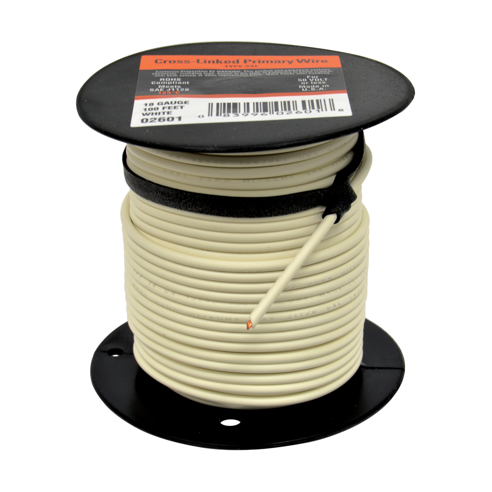 10 AWG Cross Link Primary Wire 100 Foot Roll White