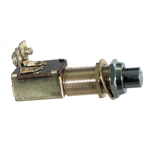 5/8 Inch-32 x 1-1/4 Inch Chrome  Push Button Switch Momentary On