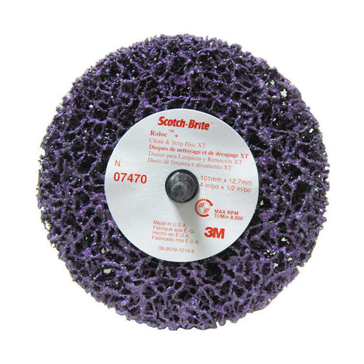 3M 4 Inch x 1/2 Inch Roloc Plus Clean and Strip XT Disc - Purple