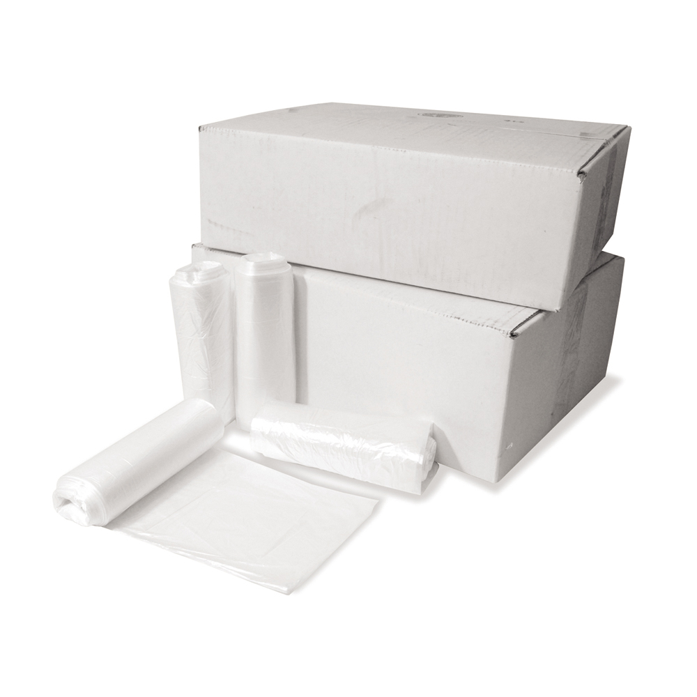 12 - 16 Gal 33 Inch x 24 Inch x 8 Micron Natural High Density Inteplast Coreless Roll Liner - 1000 Per Case