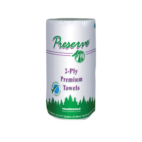 """11"""" x 9"""" Preserve Perforated Household Roll Towel 85 Sheets Per Roll Case of 30"""