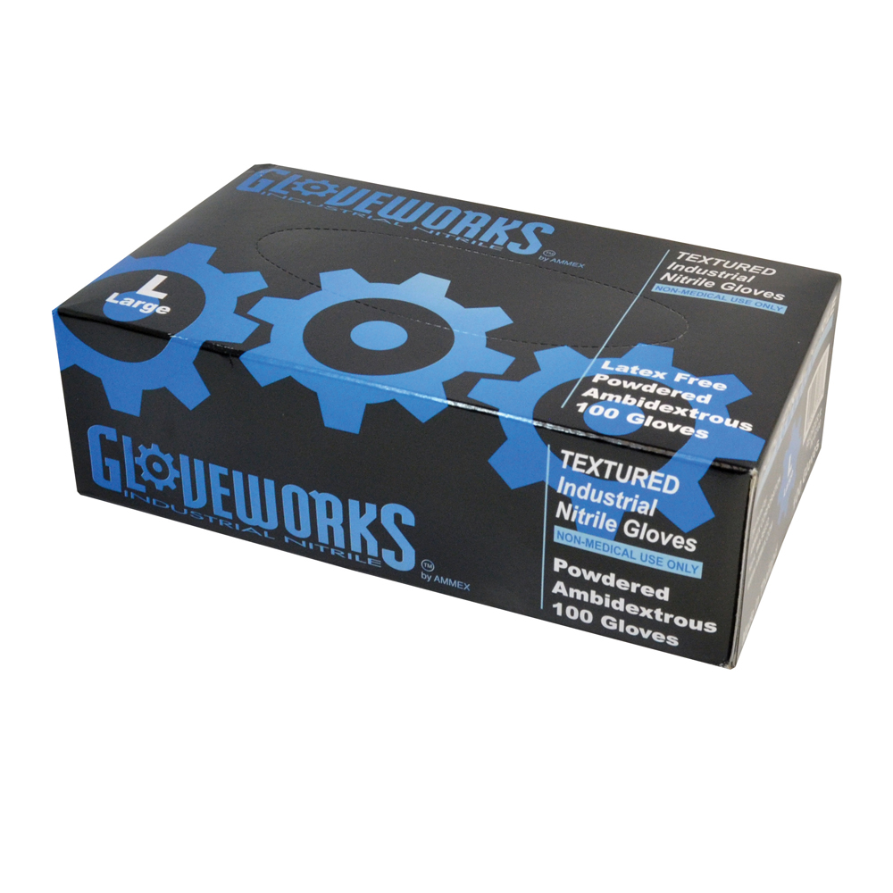 2X-Large 5 Mil Palm 6 Mil Fingertip Blue Textured Nitrile Powdered Gloveworks Premium Industrial Glove - 10 Box Case