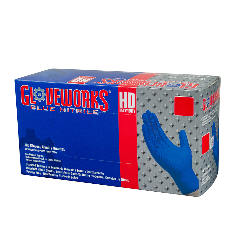2X-Large Gloveworks HD Royal Blue Nitrile Gloves - Box of 100