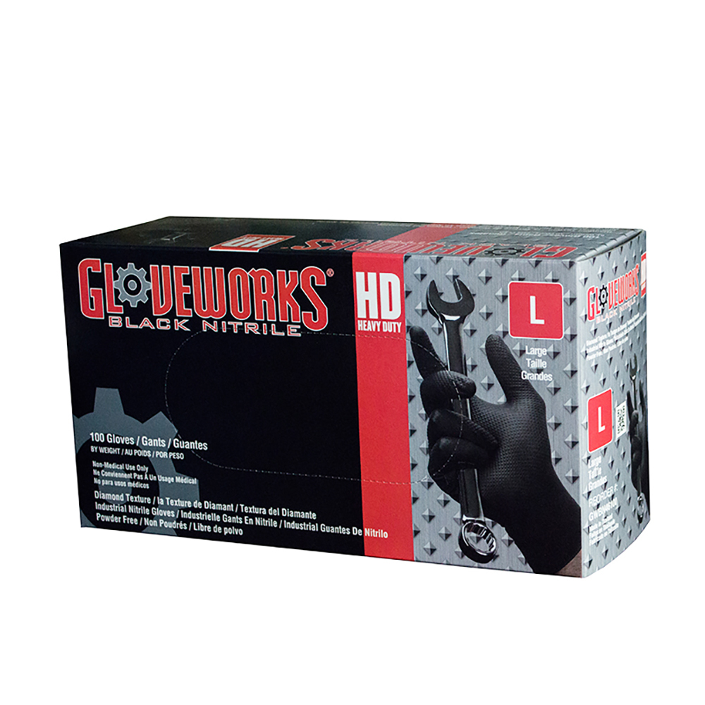 2X-Large Ammex Gloveworks HD Black Nitrile Textured Nitrile Gloves - Case of 10 Boxes