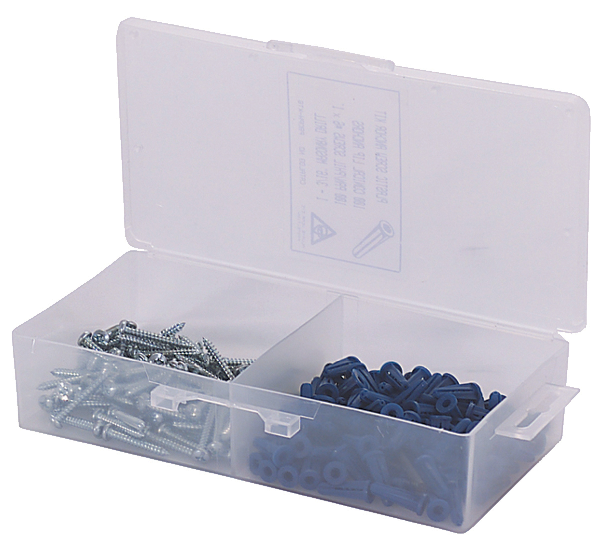 #10 x 1 Inch Bantam Plastic Conical Plug Anchor Kit Combo/Pan Head Screws Plastic Box